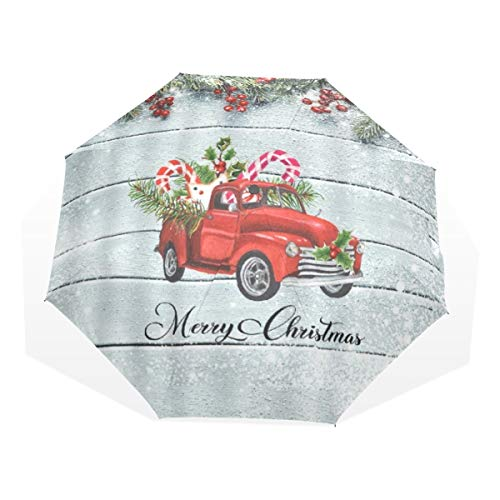 LASINSU Regenschirm,Frohe Weihnacht Kiefern Tannen Weihnachtsbaum Schnee und rotes Geschenk Auto,Faltbar Kompakt Sonnenschirm UV Schutz Winddicht Regenschirm
