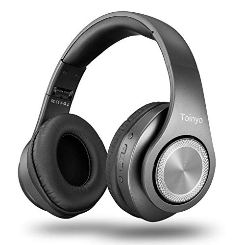 Bluetooth Headphones Over Ear,Folding Stereo Headset 40H Playtime with Deep Bass,Soft Memory-Protein Earmuffs,Built-in Mic Wired Mode PC/Cell Phones/TV (Grey)