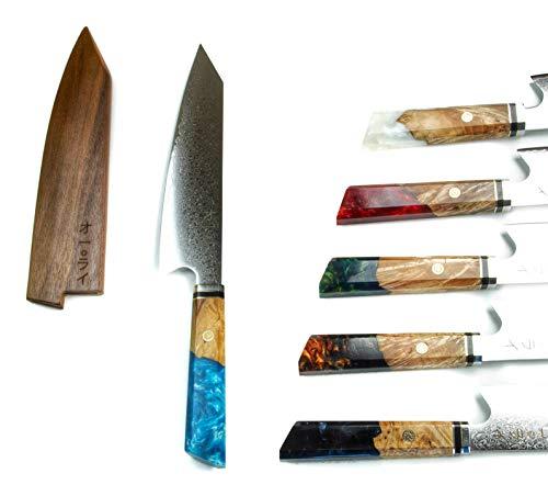 Cuchillo de Chef Kiritsuke de Acero Damasco Japonés Premium Incluye Saya Magnética (Funda/protector de Mader a) All Right Chef Tool's (Azul)