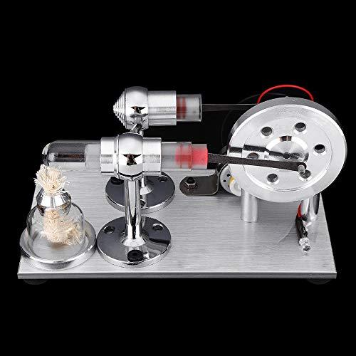 PQXOER Modelo de Motor Stirling Stem Doble Cilindro del Motor Stirling con la luz del Modelo Escuela de Física Demo DIY Modelo de Juguete Proyecto Educación Kit de Juguete de Regalo