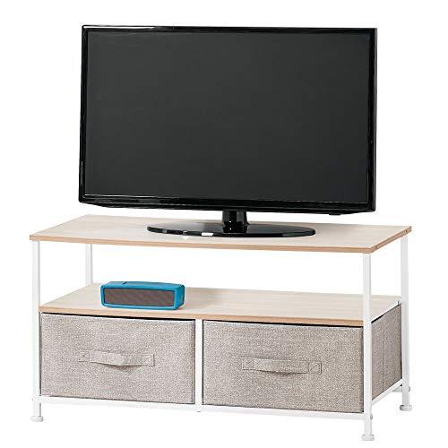 mDesign meuble TV avec boites de rangement – table TV étroite avec surface de rangement et 2 corbeilles – meuble télé moderne pour télévision, lecteur DVD et console de jeu – beige
