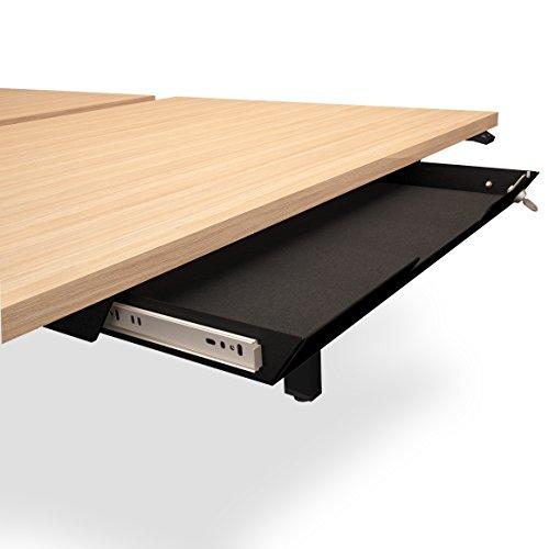 Weber Büroleben GmbH Unterbau-Schublade mit Schloss 584 x 290mm aus Metall mit Filzeinlage, Farbe:Schwarz