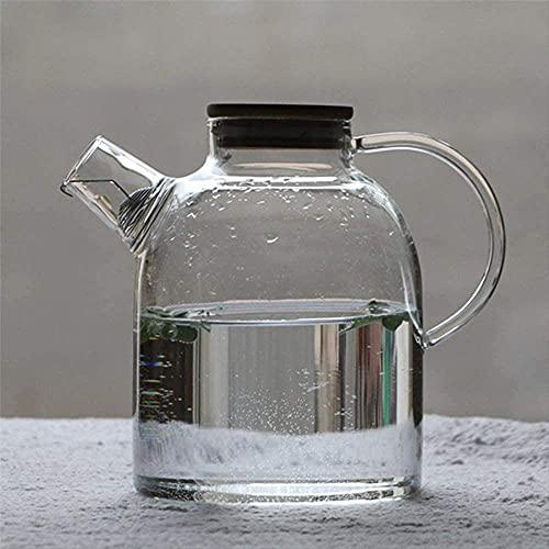 Botella de Agua de Vidrio de Borosilicato Resistente Al Calor Simple Y Creativa de 1000 Ml Tetera de Flores de Gran Capacidad de Filtración, lsxysp