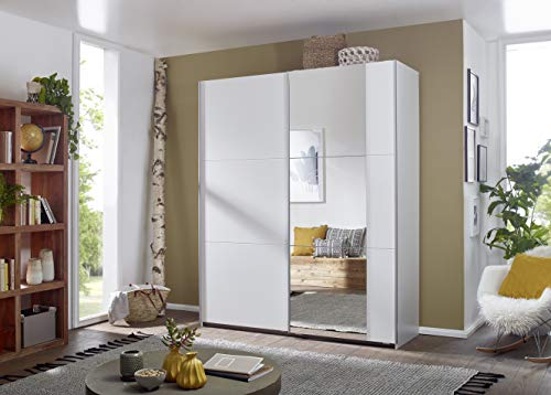 Rauch Möbel Santiago Schrank Schwebetürenschrank Weiß mit Spiegel 2-türig inkl. Zubehörpaket Classic 4 Einlegeböden, 2 Kleiderstangen, 1 Hakenleiste, BxHxT 175x210x59 cm