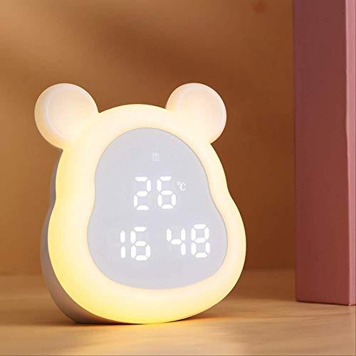 Reloj Despertador Pequeño con Luz Nocturna para Niños con Reloj Electrónico Colorido para Dormir Reloj De Cabecera con Carga De Dibujos Animados Led para Estudiantes Modelo sin Enchufe