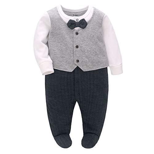 Famuka Baby Junge Anzug Taufe Hochzeit Partei Babykleidung (Grau, 0-3 Monate)