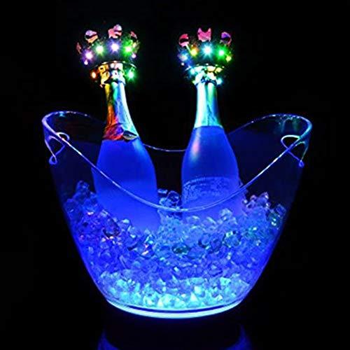 YXZN Cubo De Hielo con Luz LED, Plástico Transparente, Acrílico, LED, Barra De Carga, Colorido, para Fiesta De KTV, Cerveza, Cubitera De Hielo, Cerveza, Vino O Champán