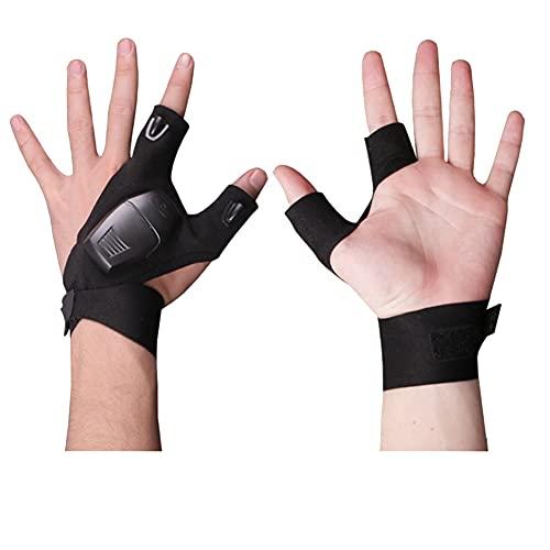 Luz nocturna impermeable guantes de pesca con linterna LED al aire libre guantes sin dedos linterna LED campamento guantes de ciclismo