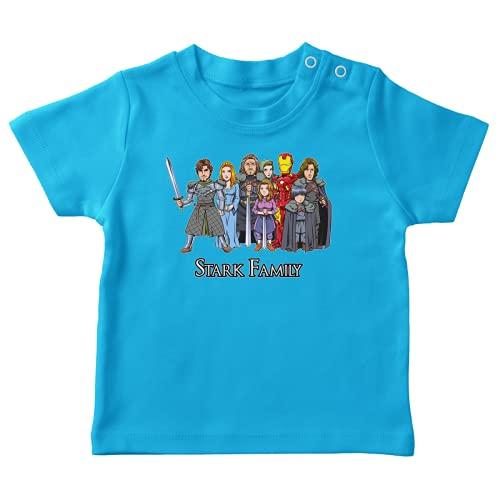 Maglietta Turchese bebè parodia Iron Man - Il Trono di Spade - Eddard, Catelyn, Robb, Sansa, Arya, Brian, Rickon e Tony Stark - (T-shirt di qualità premium in taglia 6 mesi - Stampata in Franci