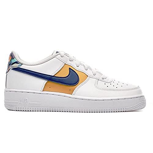 Nike Air Force 1 Low GS White Blue Gold DM3089-100, bianco, 36 EU
