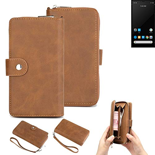 K-S-Trade® Handy-Schutz-Hülle Für Carbon 1 MKII Portemonnee Tasche Wallet-Hülle Bookstyle-Etui Braun (1x)