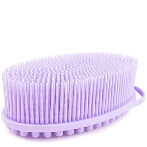 Avilana Exfoliating Silicone Body Scrubber Easy to Clean, Lathers Well, Long Lasting, And More Hygienic Than Traditional Loofah (Lavender)