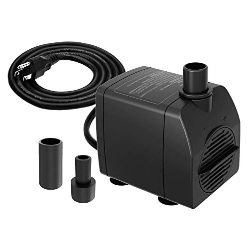 Knifel Submersible Pump 200GPH Ultra Quiet with Dry Burning Protection 5.2ft High Lift for Fountains, Hydroponics, Ponds, Aquariums & More……