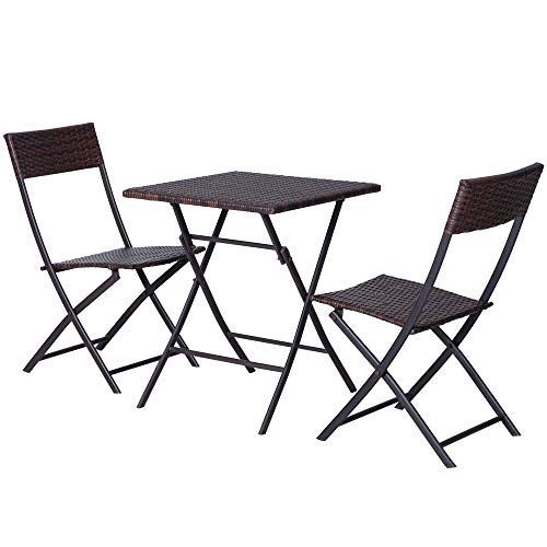 Outsunny 3 PCS PE Rattan Wicker Furniture Patio Rattan Bistro Set Folding for 2 Outdoor Square Table and Chair Set (Brown)