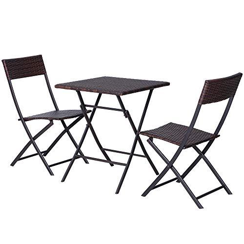 Outsunny Mobili da Giardino in Rattan Set 1 Tavolino e 2 Sedie da Giardino Pieghevoli 3pz Marrone