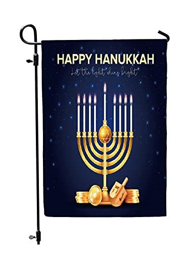 Happy Hanukkah Garden Flag - Double Sided Chanukah Yard Flag - Festive Judaica Decor Size 12' x 18' by Jolly Jon