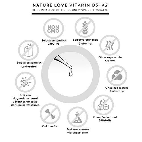 NATURE LOVE® Vitamin D3 + K2 (50ml flüssig) - Hoch bioverfügbar durch Original VitaMK7® 99,7% All-Trans + laborgeprüfte 1000 I.E. Vitamin D3 pro Tropfen - Hochdosiert, in Deutschland produziert - 5
