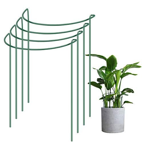 IPSXP Plant Support Stake, 4-Pack Half Round Metal Garden Plant Supports, Green Garden Plant Support...