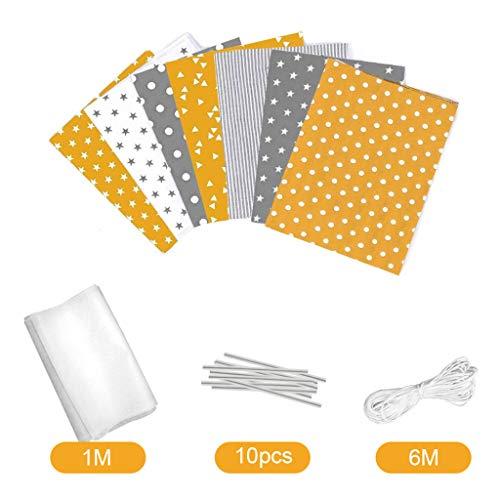 None Brand Kimruida DIY Selbstgemachtes Bezugsmaterial-Set, 7-teilig, quadratisches Handtuch, Abdecktuch Einheitsgröße gelb