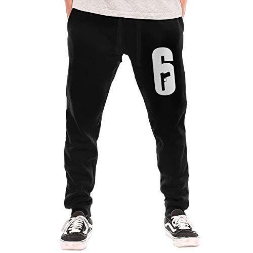 JYRJ Men's Sweatpants Rainbow Six Siege Logo Athletic Jogger Long Pants Black