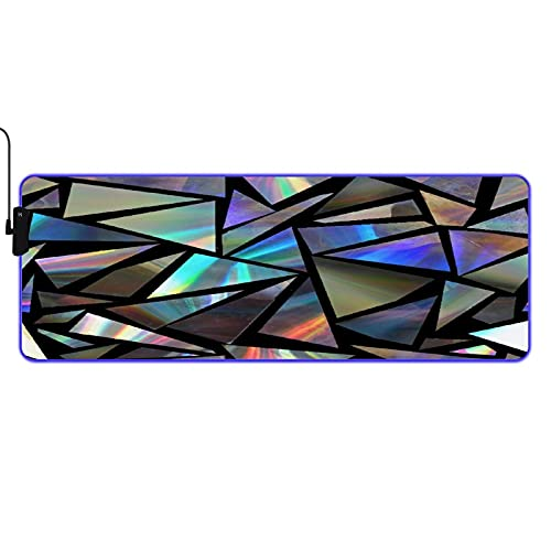 MISCERY Glowing Mouse Pad,Holographic Triangles on Black Background,Rectangular Gaming Mouse Pads, for Laptop Computer PC Games Office Home, Anti-Slip Rubber Base Computer Mouse Mat