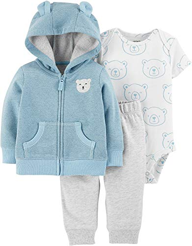 Carter's Baby Boys` 3-Piece Little Jacket Set (12 Months, Light Blue Bear)