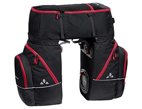 VAUDE Hinterradtaschen Karakorum, Dreifachtasche zum Radfahren, black/red, one Size, 124090310
