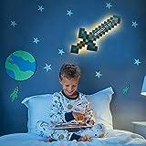 Elbeffekt Pixelschwert aus Holz - personalisierbares Geschenk für Jungen - Kinderzimmer Deko - Jungen Geschenk - personalisierbar zum Hinstellen/Aufhängen - Pixelschwert Lampe - persönliches Geschenk