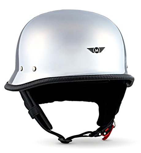 "Moto Helmets® D33 ""Chrome"" · Brain-Cap · Halbschale Jet-Helm Motorrad-Helm Roller-Helm Scooter-Helm Bobber Mofa-Helm Chopper Retro Cruiser Vintage Pilot Biker · Schnellverschluss Tasche M (57-58cm)"