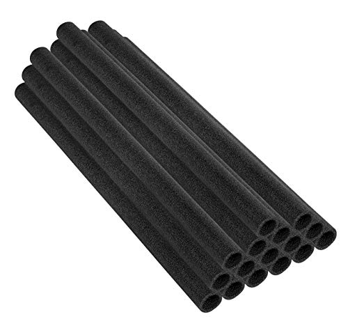 Upper Bounce 33 Inch Trampoline Pole Foam Sleeves, Replacement Protection Poles Cover Padding Tube Fits for 1.5' Diameter Pole - Set of 16 -Black