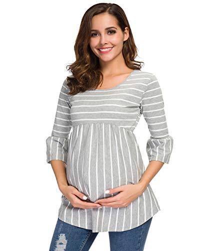 Love2Mi Damen Schwanger T-Shirt Umstandsshirts Streifen Lose Umstandstops Mama Kleidung mit 3/4 Bell-Sleeve (Graue Weiß Streifen, L)