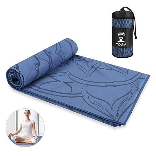 Maxjaa Handtuch für Yogamatte, Antirutsch Yogatuch mit hoher Bodenhaftung für Fitness Pilates & Gymnastik mit Mikrofaserdruck und Aufbewahrungstasche 63 * 185cm, Extrem Schweiß absorbierend