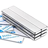MIKEDE Strong Rare Earth Neodymium Magnets, Heavy Duty Bar Magnets with Double-Sided Adhesive, Powerful Pull Force, Perfect for Fridge, Garage, Kitchen, Science, Craft, Office, DIY 60x10x3mm 6pack