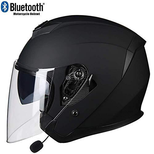 Liujie Motorhelm met bluetooth-jet-vizier met anti-condens-vizier voor volwassenen, professionele motorcrosshelm met ingebouwde microfoon voor automatische reactie
