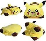 SANHUAGLASS Soft Plush Pikachu Pillow, Collapsible Pokemon Cartoon Pillow