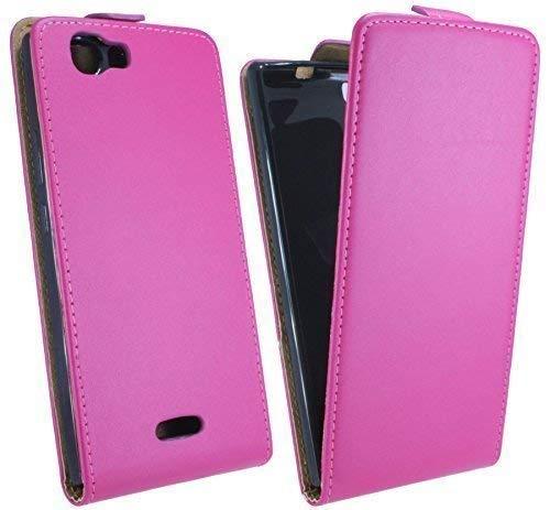 ENERGMiX Klapptasche Schutztasche kompatibel mit Wiko Ridge 4G in Pink Tasche Hülle
