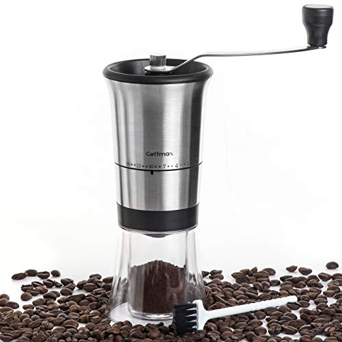 Manual Coffee Grinder – Ceramic Conical Burr Mill with 16 Grind Settings – Quiet Beans Grinder with Stainless Steel Hand Crank for Espresso, Turkish, Aeropress, Chemex plus Cleaning Brush & eBook by Coffmax