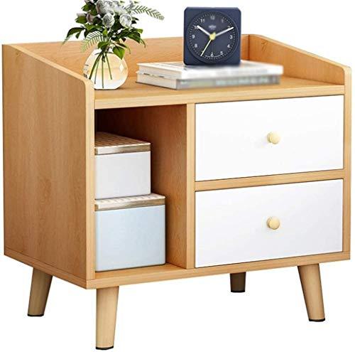 Nachttisch aus massivem Holz, mit 2 Schubladen, einfache Aufbewahrung, Beistelltisch (Farbe: B)