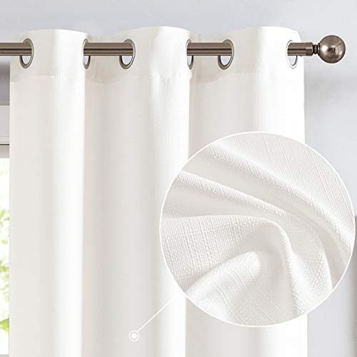 jinchan Burlap Linen Textured Curtains for Living Room Grommet Top Light Filtering Window Curtain Panels for Bedroom 2 Panels White 84 inch Long
