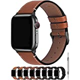 Fullmosa Correa Apple Watch Series SE 7/6/5/4/3/2/1, 4 Colores, Vintage Pulsera de Cuero Reemplazo de Apple Watch para Mujeres Hombres, Marrón Oscuro + Hebilla Gris Ahumado, 42mm/44mm/45mm