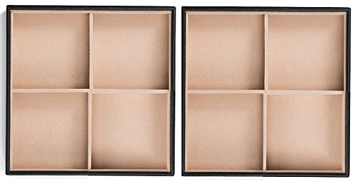 Glenor Co Jewelry Organizer Tray - Set of 2 - Stackable 8 Square Slot Jewelry Storage Trays - Display on Dresser or Drawer - Compatible with other Glenor trays - Black