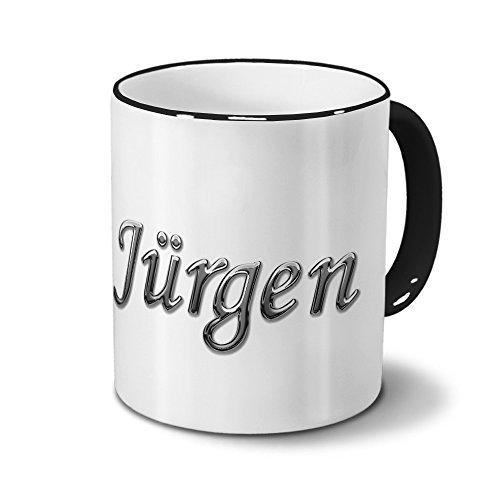 Tasse mit Namen Jürgen - Motiv Chrom-Schriftzug - Namenstasse, Kaffeebecher, Mug, Becher, Kaffeetasse - Farbe Schwarz
