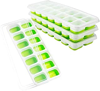 Ice Cube Trays 4 Pack, Easy-Release Silicone and Flexible 14-Ice Trays with Spill-Resistant Removable Lid, LFGB Certified ...