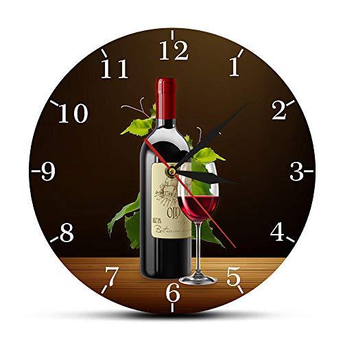Cartel de borrachera de Bodega de Vino Tinto y Blanco Reloj de Pared de Cocina Moderno Botellas y Copas de Vino con Uvas Reloj de Pared de Bar en casa Taberna-No_Frame