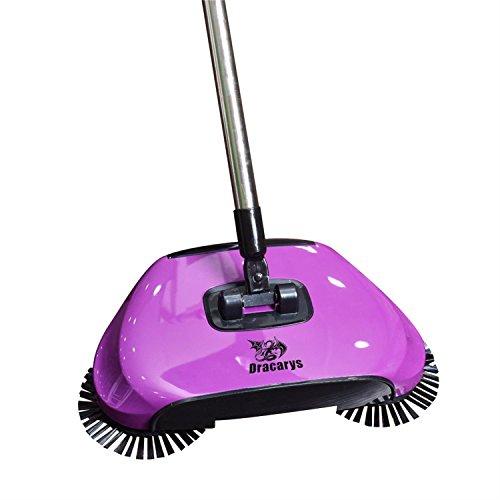 Dracarys Lazy 3 en 1 Ménage Main Push Automatique Sweeper Balai – Y Compris Balai et Pelle à poussière et Poubelle – Aspirateur sans électricité Environnementale (Violet)