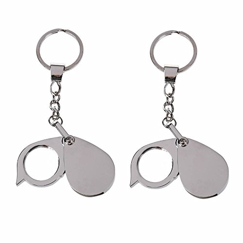 GOOTRADES 2 Pack Mini Folding Magnifier with Keychain,8X Eyes Glass Magnifying Loupe Metal Key Ring