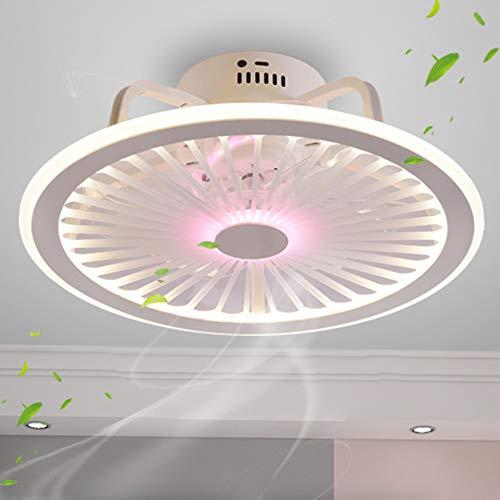 Leise Deckenventilator Licht Dimmbar Mit Fernbedienung Ultra Dünn Design LED Fan Deckenleuchte Schlafzimmer Kinderzimmer Esszimmer Ventilator Lampe Fan Deckenlampe 4H Timing App Fan Kronleuchter