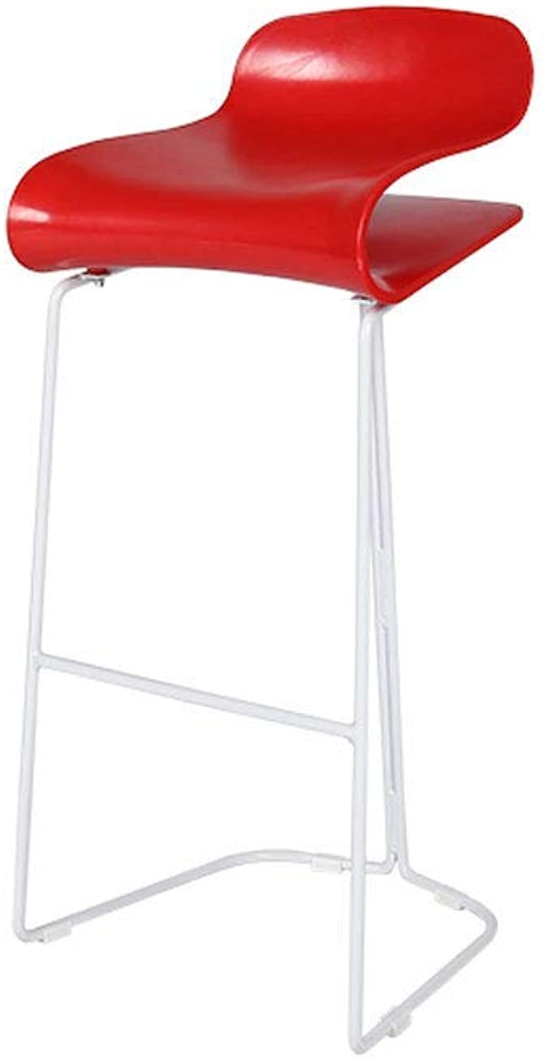 Nordic Bar Stool Wrought Iron Home Kitchen Chair High Stool Modern Bar Chair, Metal Bracket, 5 colors (color   Red, Size   75cm)