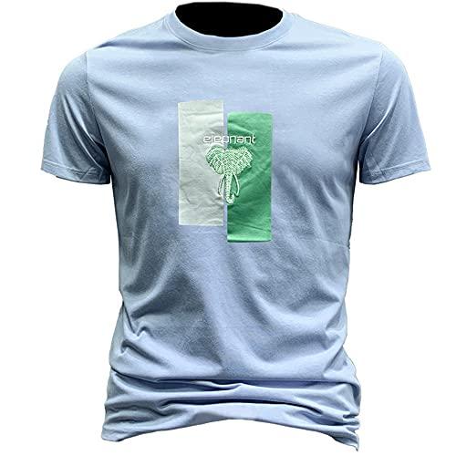 Camiseta Hombre Moderno Clásico Moda Cuello Redondo Regular Fit Hombre Shirt Urbana Verano Tendencia Impresión Hombre Casuales Camisa Diario Suave Transpirable Manga Corta