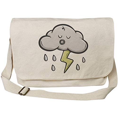 'Sleepy Storm Cloud' Cotton Canvas Messenger Bag (MS00029287)
